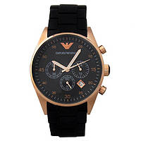 Часы Armani Silicone Chronograph 43mm Gold/Black. Реплика: AAA., фото 1