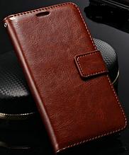 Кожаный чехол-книжка для Samsung Galaxy S5 mini G800 коричневый