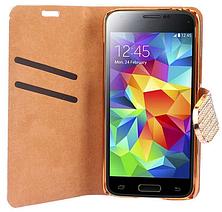 Чехол-книжка для Samsung Galaxy S5 mini G800 золотистый, фото 3