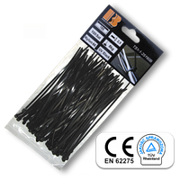 Стяжки кабельные пластиковые черные UV Black 2,5*120 мм Bradas
