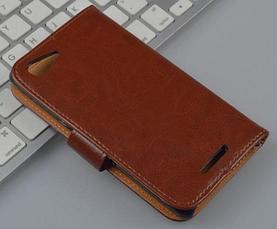 Кожаный чехол-книжка для Sony Xperia E3 D2203 D2206 коричневый, фото 2