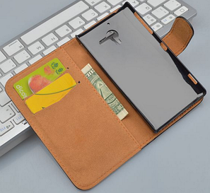 Кожаный чехол-книжка для Sony Xperia ZL L35h C6502 C6503 C6506 коричневый, фото 2