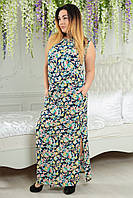 Платье в пол 2166 синее цветы
