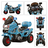 Электромотоцикл детский 12V M 0599 A-4 С НАДУВНЫМИ РЕЗИНОВЫМИ КОЛЁСАМИ, голубой