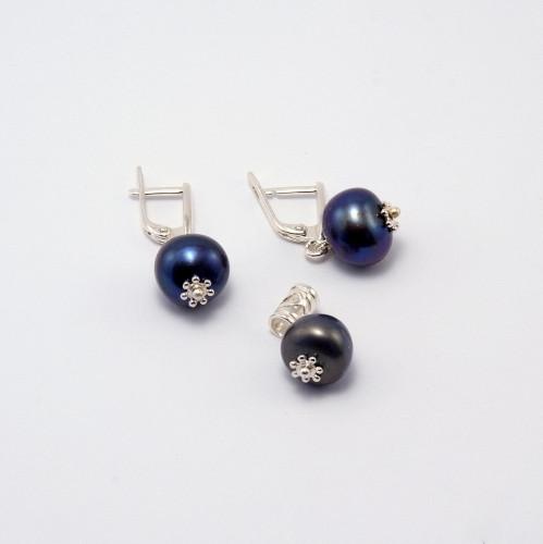 Серьги, кулон - черный жемчуг, серебро