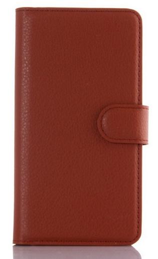 Кожаный чехол-книжка  для Lenovo K3, K30-T, A6000, A6010, A6010 Plus коричневый