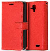 Кожаный чехол-книжка  для Lenovo A536 красный