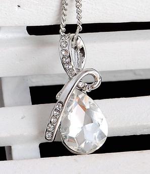 Стильная цепочка с кулоном, белым камнем, фото 2
