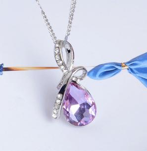 Стильная цепочка с кулоном, фиолетовым камнем, фото 2
