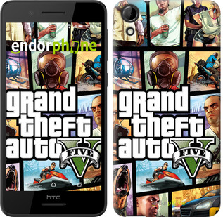 "Чехол на HTC Desire 630 GTA 5. Collage ""630c-454"""