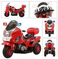 Электромотоцикл детский 12V M 0599 A-3-2 С НАДУВНЫМИ РЕЗИНОВЫМИ КОЛЁСАМИ, красный