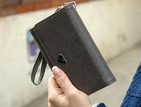 Женский кожаный кошелек визитница клатч серый, фото 1
