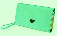 Женский кожаный кошелек визитница клатч зеленый