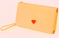 Женский кожаный кошелек визитница клатч бежевый