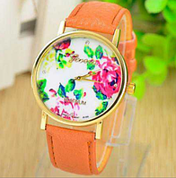 Стильные кварцевые женские часы оранжевые
