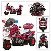 Электромотоцикл детский 12V M 0599 A-3 С НАДУВНЫМИ РЕЗИНОВЫМИ КОЛЁСАМИ, вишнёвый