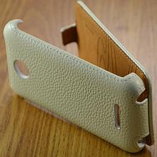 Кожаный чехол-флип BRUM для Lenovo A390 белый, фото 3