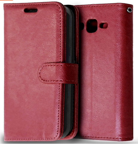 Кожаный чехол-книжка для Samsung galaxy j2 j200 коричневый