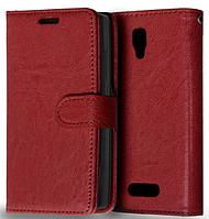 Кожаный чехол книжка  для Lenovo A2010 коричневый