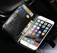 Кожаный чехол-книжка для iPhone 6 Plus/6S Plus черный, фото 2