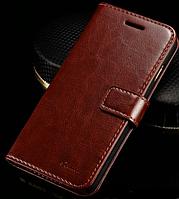 Кожаный чехол-книжка для iPhone 6 Plus/6S Plus коричневый