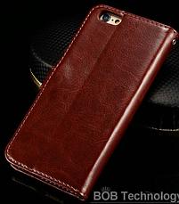 Кожаный чехол-книжка для iPhone 6 Plus/6S Plus коричневый, фото 2