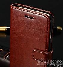 Кожаный чехол-книжка для iPhone 6 Plus/6S Plus коричневый, фото 3