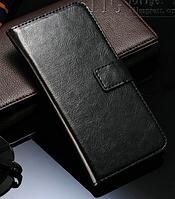 Кожаный чехол-книжка для  HTC One M8 черный