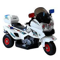 Электромотоцикл детский 12V M 0599 A-1 С НАДУВНЫМИ РЕЗИНОВЫМИ КОЛЁСАМИ, белый