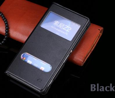 Кожаный чехол смарт для Sony Xperia Z2 L50 D6502 D6503 D6543 черный