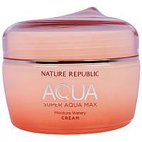 Nature Republic, Аква, Супер Аква Макс, увлажняющий бесцветный крем, 2,7 жидк. унц. (80 мл)
