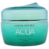 Nature Republic, Аква, крем Супер Аква Макс, свежий бесцветный крем, 2,7 жидк. унц. (80 мл)