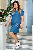 Платье батальное 2183 джинсовое цветы, фото 1