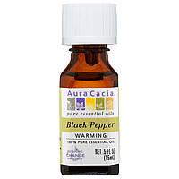 Aura Cacia, 100% чистое эфирное масло, черный перец, для предупреждения, .5 жид.унц. (15 мл.)
