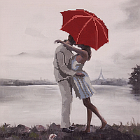 Схема для вышивания бисером Поцелуй под зонтиком 30x30см, FLS-113