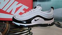 Мужские кроссовки NIKE Air Max 97 кожа белые с черным
