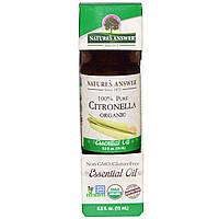 Natures Answer, Органические эфирные масла, масло цитронеллы, 0,5 жидких унций (15 мл)