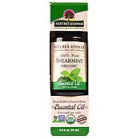 Natures Answer, Органическое эфирное масло мяты, 0,5 жид. Унции (15 мл)