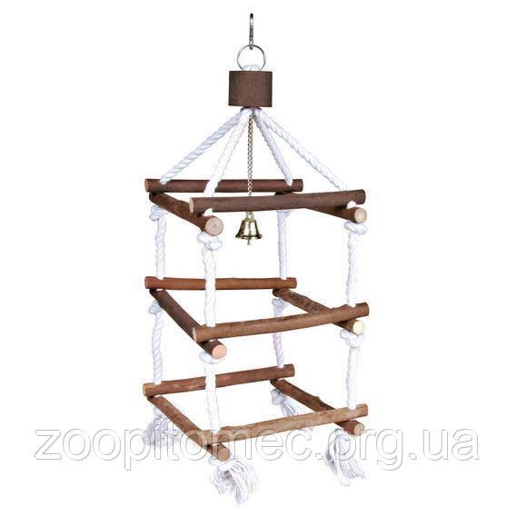 Игрушка для попугаев лесенка  с колокол.(дерево) 51 cм