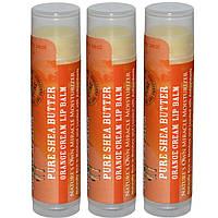 Out of Africa, Натуральный бальзам для губ с маслом ши, апельсиновый крем, 3 пакета, 4 г (0,15 унции) каждый
