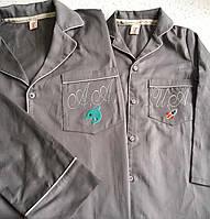Пижама из серого сатина с индивидуальной вышивкой