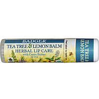 Badger Company, Бальзам для губ с маслом какао, чайное дерево и лимон, 0.25 унций (7 г)