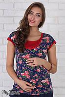 Майка-футболка красная из вискозы для беременных и кормящих S L XL