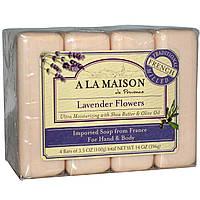 A La Maison de Provence, Мыло для рук и тела, с ароматом лаванды, 4 куска, 3.5 унций (100 г) каждый