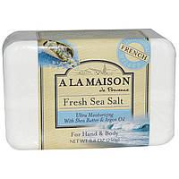 A La Maison de Provence, Мыло для рук и тела (твердое), свежая морская соль, 8,8 унций (250 гр)
