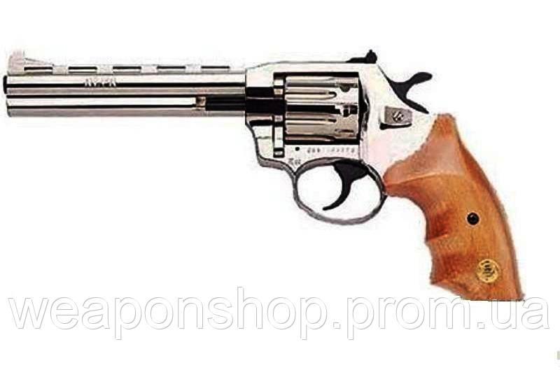 Пистолет под патрон флобера ALFA 461, никель, деревянная рукоятка