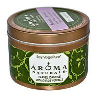 Aroma Naturals, Soy VegePure, свеча для поездок, спокойствие, иланг-иланг и лаванда, 2,8 унции (79,38 г)