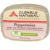 Clearly Natural, Essentials, натуральные глицериновое мыло, с мятой, 4 унции (113 г)