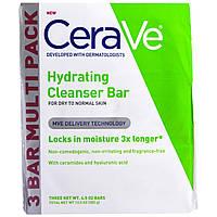 CeraVe, Увлажняющее и очищающее кусковое мыло, 3 куска в пачке, по 4,5 унции каждый