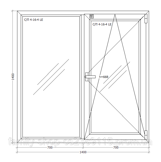 Окно металлопластиковое двухстворчатое 1400х1400